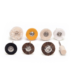 牙科带柄毛刷 带柄毛刷 布轮钢刷 带柄抛光平刷 牙科技工专用 细毛棉刷