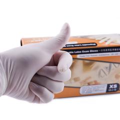 爱马斯AMMEX一次性无粉手套橡胶牙科乳胶手套食品实验室医科用 XS