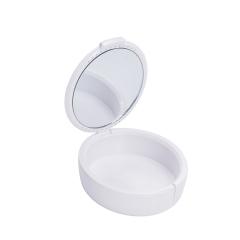 带镜小牙盒假牙盒磨牙套盒保持器盒子大号盒带刷子 白色